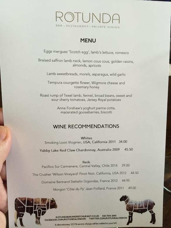 Spring Lamb menu